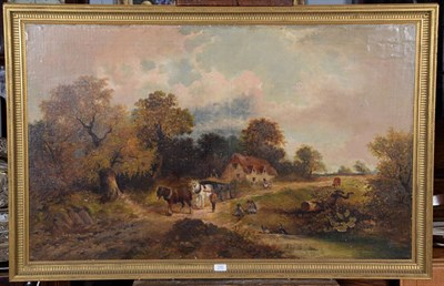 Lot 1082 - 19th century English School, Country landscape with horse, cart and children playing,...