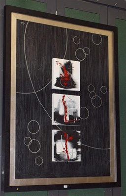 Lot 1085 - Modern art, a large mixed media picture, three box canvases arranged in a column on a...