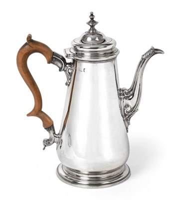 Lot 2000 - A George II Silver Coffee-Pot, Maker's Mark ?B, London, Probably 1742, tapering and on...