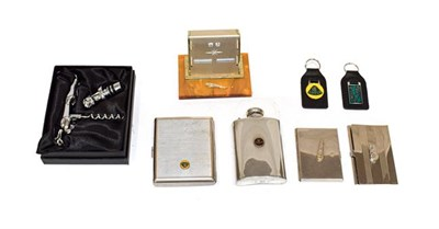 Lot 2 - Jaguar and Lotus Interest, to include a Lotus stainless steel hip flask with screw top, a...