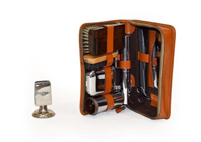 Lot 3 - Bentley Interest: A Circa 1940/50 Brown Leather Motorist's Travelling Grooming Set, with zip...