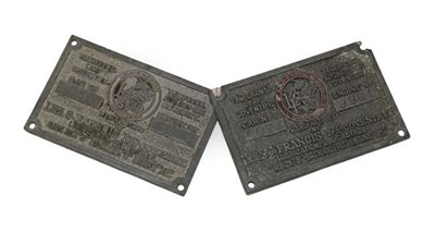 Lot 13 - Two Lea-Francis Pressed Metal Telegram Leaf or Chassis Plates, one stamped 181279981, the other...