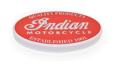 Lot 15 - An Illuminated Car Display Sign: Indian Motorcycle Quality Products, established 1901, with low...