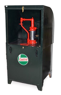 Lot 23 - A Workshop Oil Dispenser, repainted green and labelled Castrol, with red painted pump and...