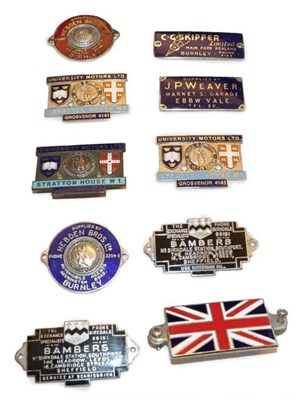 Lot 26 - ~ Ten Assorted Enamel Car Badges, to include Hebden Brothers Ltd (x2), Bambers (x2), University...