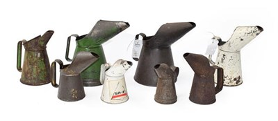 Lot 30 - ~ Eight Vintage Metal Oil Pourers, in various sizes, including three green painted and two...