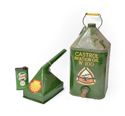 Lot 33 - ~ A Castrol Aviation Oil W100 Green Painted Oil Can, with carrying handle and screw top, 52cm high