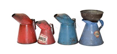 Lot 34 - ~ A Red Painted 1 Gallon Oil Pourer; A Blue Painted Example; A Fina Example; A Texaco 2 Litre...