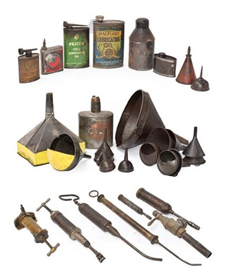 Lot 36 - ~ Eleven Assorted Vintage Oil Funnels; A Copper Oil Can; Eight Assorted Lubricating Cans, including