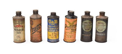 Lot 38 - ~ Six Vintage Under-Bonnet Cylindrical Oil Cans, to including Pratts, Falcon, Duckhams, Mobil...