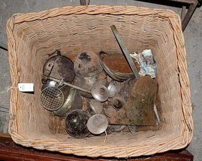 Lot 43 - ~ A Large Wicker Basket, containing assorted pre-war headlamps, horns, Austin hub caps etc