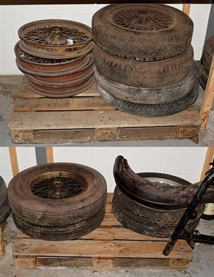 Lot 44 - ~ Eleven Assorted Vintage Wirework Car Wheels, eight with rubber tyres (a/f)