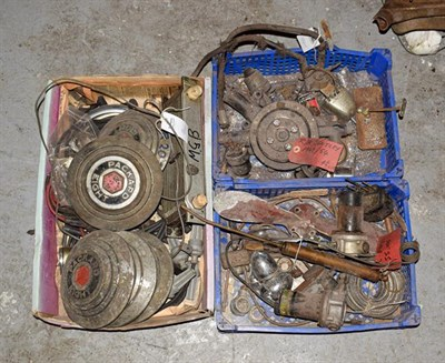 Lot 48 - ~ Three Boxes of Assorted Car Spares, to include five Packard Eight wheel hubs, MGB spares, oil...