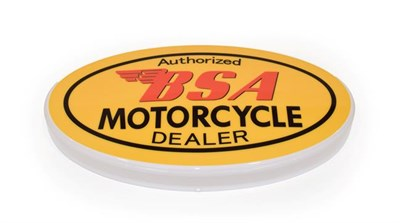 Lot 50 - An Illuminated Car Display Sign: Authorised BSA Motorcycle Dealer, with low voltage...