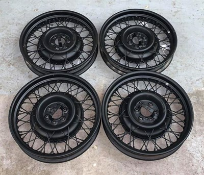Lot 51 - ~ Four Pre-War 19'' Wire Wheels, sand-blasted and repainted black