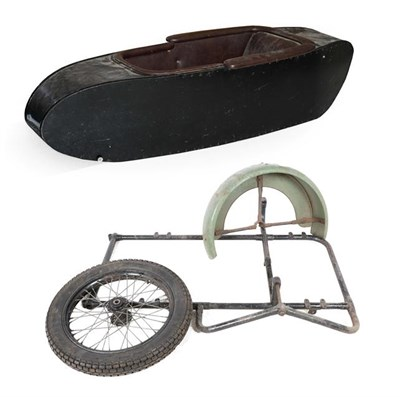 Lot 53 - ~ A 1950's Black Painted Side Car, the body with screw fixings, repainted black with brown...