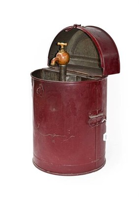 Lot 54 - A Vintage Portable Oil Dispenser, painted red with hinged lid and carrying handles, enclosing a...