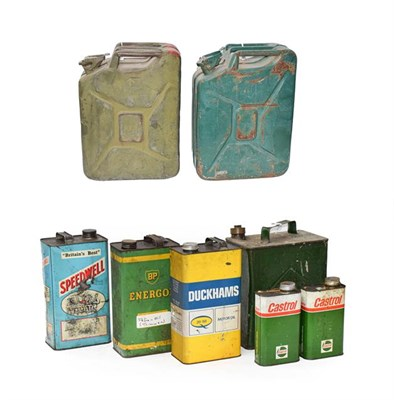 Lot 55 - Two Green Painted 20 Litre Fuel Cans, with moulded carrying handle and hinged pouring spout; A...