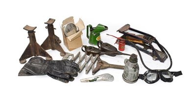 Lot 56 - A Collection of Automobilia, to include a pair of metal car axel stands, a 1 tonne Lake &...