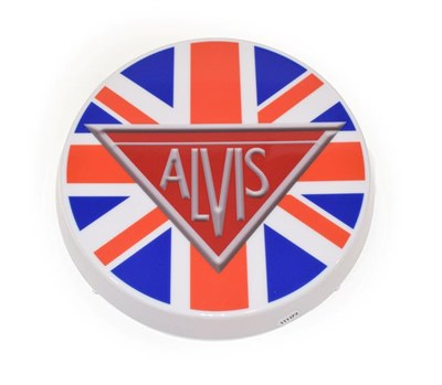 Lot 60 - An Illuminated Car Display Sign: Alvis, with low voltage transformer, 43cm diameter
