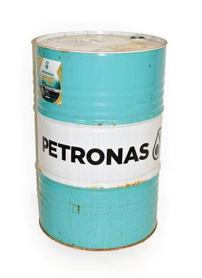 Lot 64 - Petronas: A 200 Litre Cylindrical Oil Drum, empty, painted green and white, 88cm high