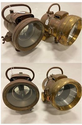 Lot 66 - A Powell & Hanmer Veteran Copper and Brass Self-Contained Acetylene Head Lamp, with 7'' lens,...