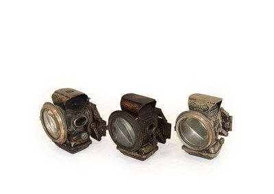 Lot 68 - Three Early 20th Century Lucas Silver King Bicycle Lamps, with original pivoting mounting...