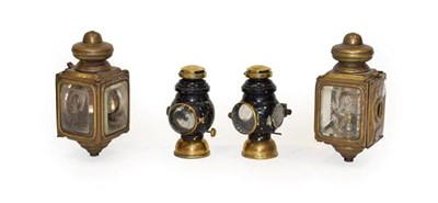 Lot 69 - A Pair of Edwardian Brass No.1175 Lamps, each with copper name plates stamped ROTAX MOTOR CO LONDON