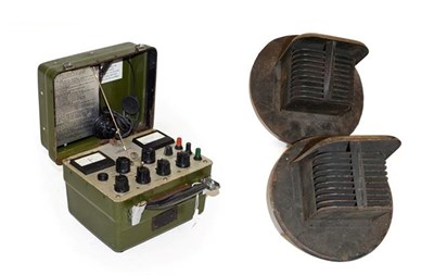 Lot 76 - A Pair of  Wartime Headlamp Covers and A Portable Ohmmeter, No.18A, 500 Volts, (2)