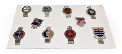 Lot 77 - Ten Chrome and Nickel-Plated Car Badges, to include Grenadier Guards and Rotary International,...