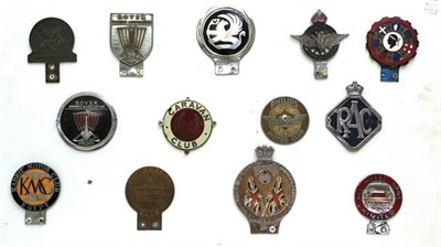 Lot 78 - Thirteen Assorted Chrome and Enamel Car Badges, to include Civil Service Motoring Association,...