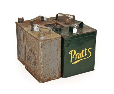 Lot 80 - Four 2 Gallon Fuel Cans, comprising Shellmex, Esso, Pratts and WD