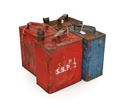 Lot 81 - Four 2 Gallon Fuel Cans, comprising red painted BP (x2), Pratts, and blue painted Esso, each...