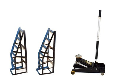 Lot 85 - An Omega 3.2 Tonne Hydraulic Service Jack, with handle; and A Set of Blue Painted Metal Heavy...