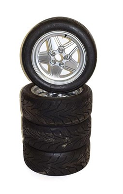 Lot 86 - A Set of Four Penta-Style 15'' Alloy Wheels, fitted with Proxes R88 track day tyres