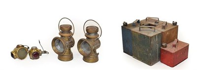 Lot 93 - A Pair of Early 20th Century Joseph Lucas King of the Road Brass Lamps, with 3'' glass lenses, 28cm