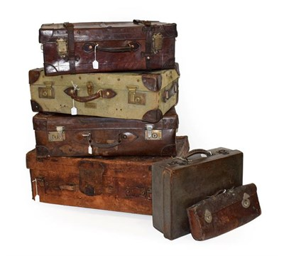 Lot 96 - A Large Leather Folding Gladstone Bag; Two Vintage Leather Suitcases; A Green Canvas and Brown...