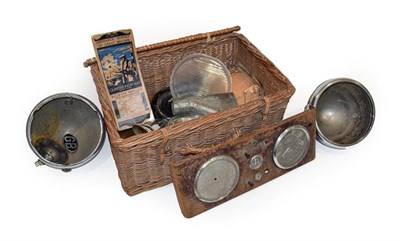 Lot 97 - Assorted Vintage Car Spares, in a wicker basket, to include an instrument panel with speedo, a...