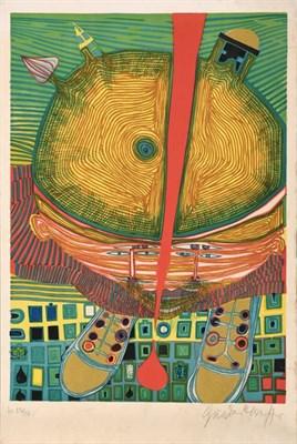 Lot 2002 - Friedensreich Hundertwasser (1928-2000) Austrian ''Der Knabe mit den grünen Haaren'',  Signed...