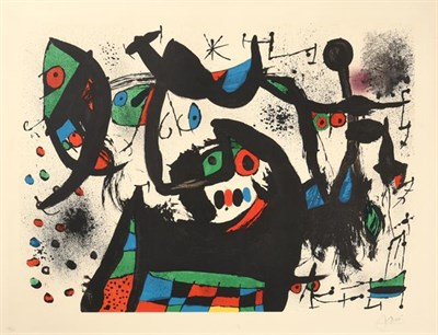 Lot 2004 - Joan Miró (1893-1983) Spanish Abstract Signed and numbered 59/75, lithograph, 63cm by 83cm...