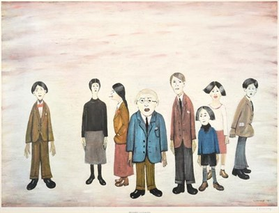 Lot 2008 - After Laurence Stephen Lowry RBA, RA (1887-1976) ''His Family'' Signed, with the blindstamp for the