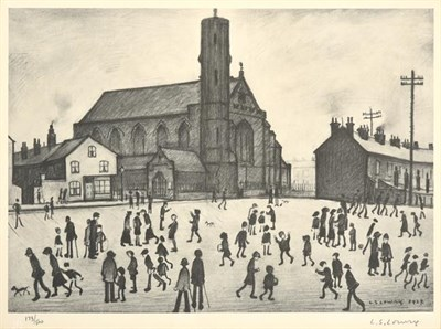 Lot 2010 - After Laurence Stephen Lowry RBA, RA (1887-1976) ''St. Mary's Beswick'' Signed in pencil and...