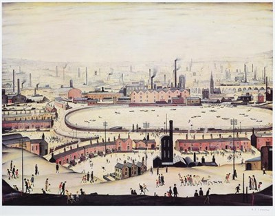Lot 2012 - After Laurence Stephen Lowry RBA, RA (1887-1976) ''The Pond'' Signed, with the blindstamp for...