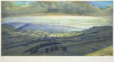 Lot 2015 - Piers Browne (b.1949) ''From Ellerkin, Wensleydale: September Afternoon'' Signed, inscribed and...
