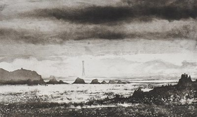 Lot 2017 - Norman Ackroyd CBE, RA (b.1938) ''Bishop's Rock'' Signed and dated (20)05, inscribed and...