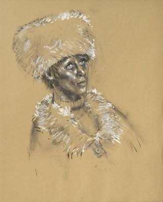 Lot 2053 - Harold Riley DL, DLitt, FRCS, DFA, ATC (b.1934) Head and shoulders portrait of a woman wearing...