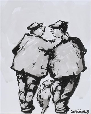 Lot 2054 - George Somerville (b.1947) Two men and a dog Signed, ink and wash, 25cm by 20.5cm  Artist's...