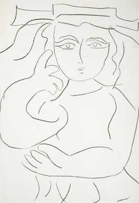 Lot 2055 - Joash Woodrow (1927-2006) Girl in a hat Green pencil, 73cm by 51cm  Provenance: 108 Fine Art,...