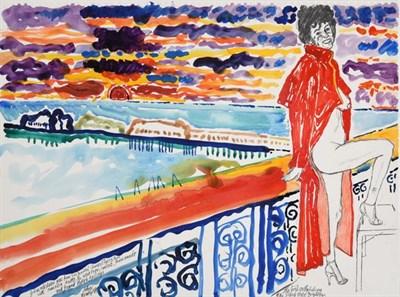 Lot 2056 - John Randall Bratby RA, LG, ARCA (1928-1992) ''The Girl on the Balcony of the Grand Hotel...