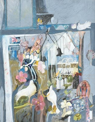 Lot 2058 - Christine Woodside RSW, RGI (b.1946) Scottish ''Doves and Violas'' Signed and dated (19)90,...